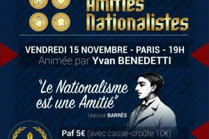 Soirée d'amitié nationaliste - 15 novembre 2019 - Paris