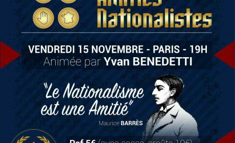 Soirée d'amitié nationaliste – 15 novembre 2019 – Paris