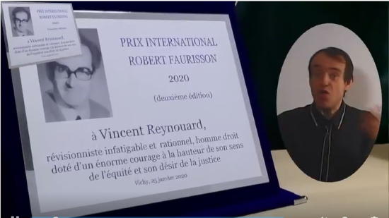 Vincent Reynouard lauréat du « Prix International Robert-Faurisson » (vidéo)