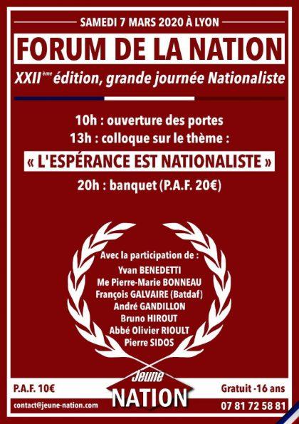 XXIIe Forum de la Nation – Samedi 7 mars 2020 – Lyon