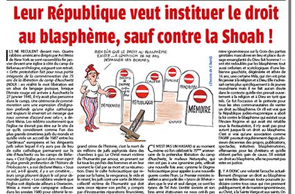 Leur République veut instituer le droit au blasphème, sauf contre la Shoah!