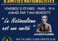 Soirée d'amitié nationaliste  - Vendredi 21 février 2020 - Paris