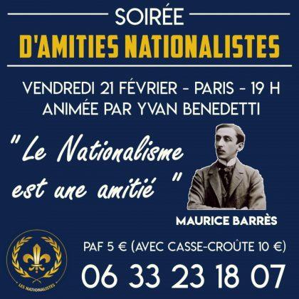 Soirée d'amitié nationaliste  – Vendredi 21 février 2020 – Paris