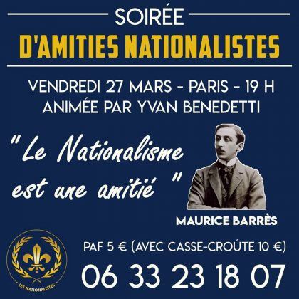 Soirée d'amitié nationaliste – Vendredi 27 mars 2020 – Paris