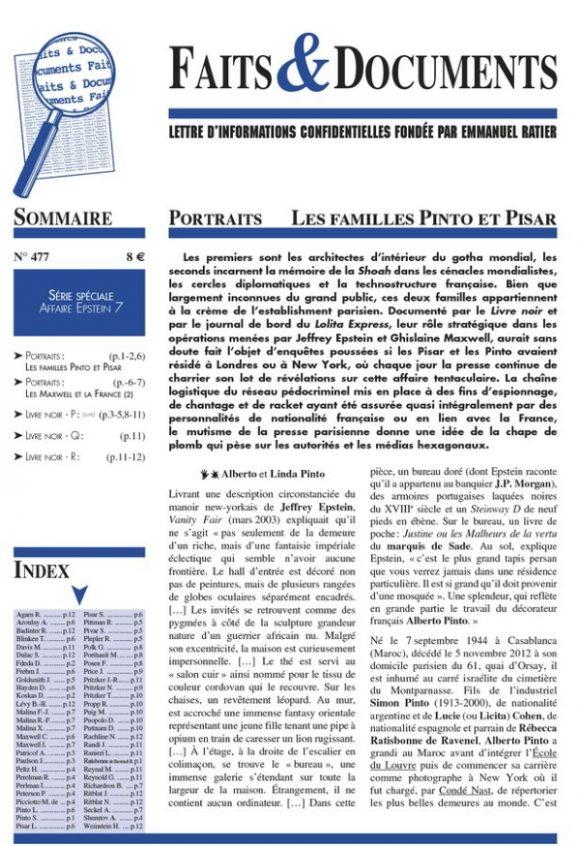 Nouveauté : Faits & Documents n°477 – Les familles Pinto et Pisar