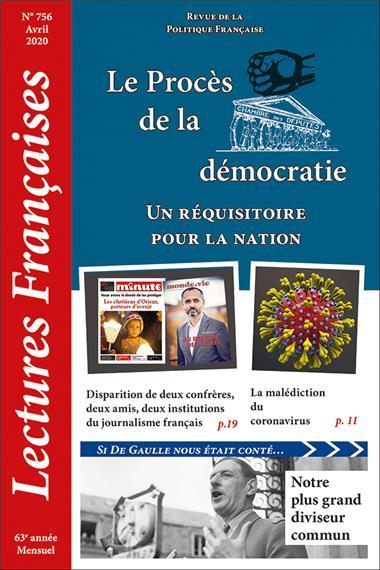 Nouveauté : Lectures Françaises – Avril 2020 – Le Procès de la démocratie : un réquisitoire pour la nation