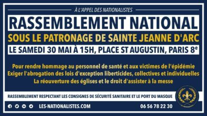 Rassemblement national sous le patronage de Jeanne d'Arc – 30 mai 2020 – Paris